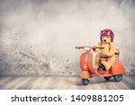 retro teddy bear toy in red... | Shutterstock . vector #1409881205
