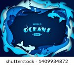 world oceans day  paper art....   Shutterstock .eps vector #1409934872
