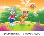 Stock photo children s fairy tales turtle with rabbit 1409937692