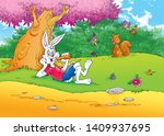 Stock photo children s fairy tales turtle with rabbit 1409937695