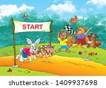 Stock photo children s fairy tales turtle with rabbit 1409937698