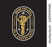 vintage surf logo print design... | Shutterstock .eps vector #1409949485