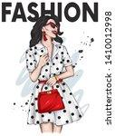 beautiful girl in a stylish...   Shutterstock .eps vector #1410012998