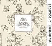 background with jojoba nuts and ... | Shutterstock .eps vector #1410025718