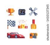 car race pixel art icons set.... | Shutterstock .eps vector #1410137345