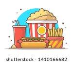 tasty combo menu hotdog with... | Shutterstock .eps vector #1410166682