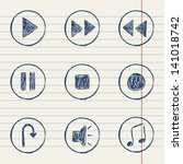 vector media player icons set... | Shutterstock .eps vector #141018742
