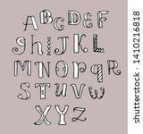 doodle letters. cute alphabet.... | Shutterstock .eps vector #1410216818