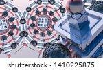 abstract futuristic three... | Shutterstock . vector #1410225875