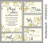 wedding invitation  thank you... | Shutterstock .eps vector #141026212