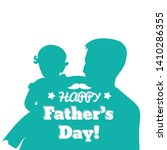 father carrying daughter on his ... | Shutterstock .eps vector #1410286355