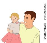 father carrying daughter on his ... | Shutterstock .eps vector #1410286358