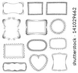 hand drawn frames set with... | Shutterstock .eps vector #141029662