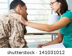 soldier having counselling... | Shutterstock . vector #141031012
