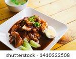 duck and crispy pork over rice...   Shutterstock . vector #1410322508