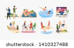 set of people resting at... | Shutterstock .eps vector #1410327488