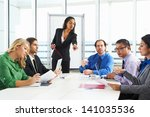 businesswoman conducting... | Shutterstock . vector #141035536