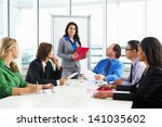businesswoman conducting... | Shutterstock . vector #141035602