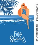vector summer pool party poster ... | Shutterstock .eps vector #1410390248
