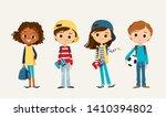 set of school kids. pupils with ... | Shutterstock .eps vector #1410394802