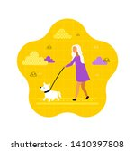 Stock vector pretty young woman with dog cute vector illustration dog walking 1410397808