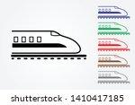 bullet train on rail using many ... | Shutterstock .eps vector #1410417185
