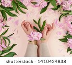 two hands of a young girl with...   Shutterstock . vector #1410424838
