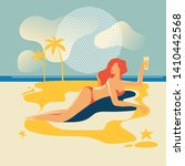 beautiful woman tanning on the... | Shutterstock .eps vector #1410442568