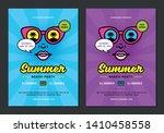 summer beach party flyer or... | Shutterstock .eps vector #1410458558