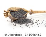 Isolated Poppy Head And Seeds...