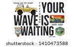 surfing badge design. outdoor... | Shutterstock . vector #1410473588