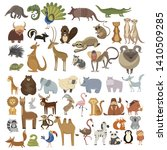 Stock vector set of animals collection of cartoon animals residents of the forest and the jungle vector 1410509285