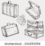 Vintage Suitcases Set. Old...