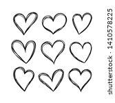 vector hearts in doodle style.... | Shutterstock .eps vector #1410578225