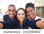 selfie of happy beautiful... | Shutterstock . vector #1410583802