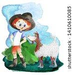 Little Farmer Boy. Watercolor...