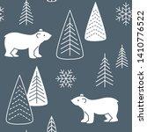 bears seamless pattern. winter... | Shutterstock .eps vector #1410776522