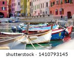 colourful fishing boats in... | Shutterstock . vector #1410793145
