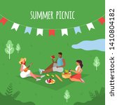 summer picnic. people on a... | Shutterstock .eps vector #1410804182