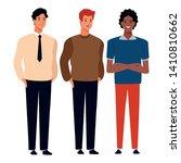 three men avatar cartoon... | Shutterstock .eps vector #1410810662