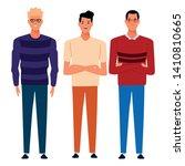 three men avatar cartoon... | Shutterstock .eps vector #1410810665
