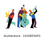 jazz band on isolated white... | Shutterstock .eps vector #1410855692