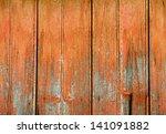 orange painted cracked wood... | Shutterstock . vector #141091882