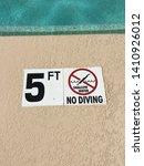 no diving 3 feet 4 5 three four ...   Shutterstock . vector #1410926012