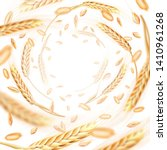 wheat ears and grains whirl in... | Shutterstock . vector #1410961268