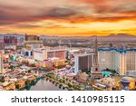 Las Vegas, Nevada, USA skyline over the strip at dusk. - stock photo