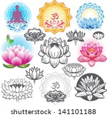 set of lotuses and esoteric... | Shutterstock .eps vector #141101188