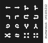arrows icons set on black.... | Shutterstock .eps vector #141101212