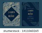 navy blue wedding invitation ... | Shutterstock .eps vector #1411060265
