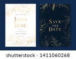 navy blue wedding invitation ... | Shutterstock .eps vector #1411060268